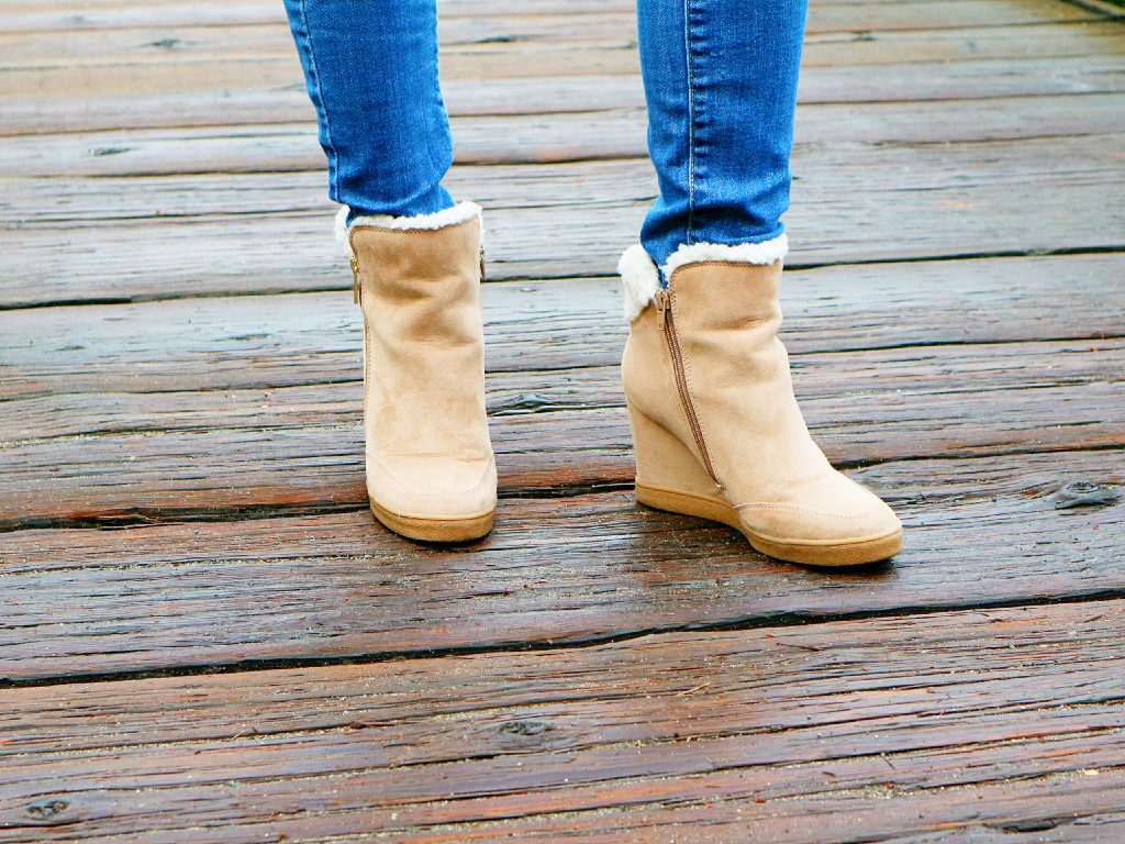 b59c64118cb Faux-Shearling Wedge Booties - Carefree   Coffee